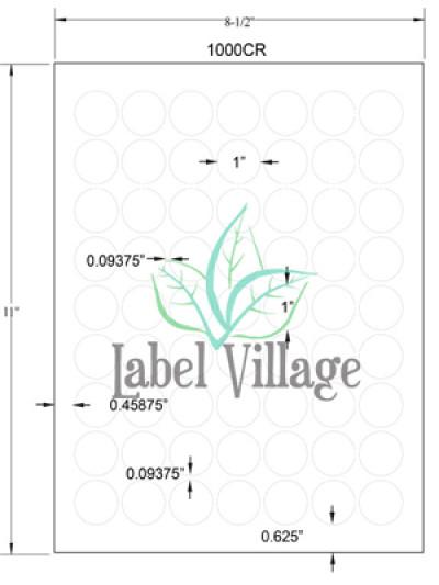 "1.0"" Circle Gloss Clear Sheet Labels"
