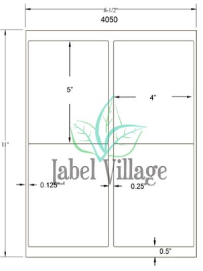 "4.0"" x 5.0"" Rectangle Brown Kraft Sheet Labels"
