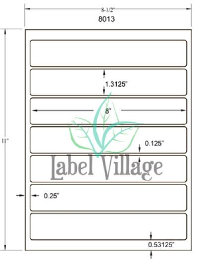 "8.0"" x 1.3125"" Rectangle Brown Kraft Sheet Labels"