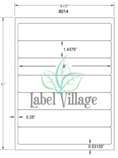 "8.0"" x 1.4375"" Rectangle Brown Kraft Sheet Labels"