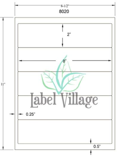 "8.0"" x 2.0"" Rectangle Brown Kraft Sheet Labels"